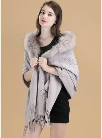 Colore solido Tempo freddo Lana/Fox Hair Poncho