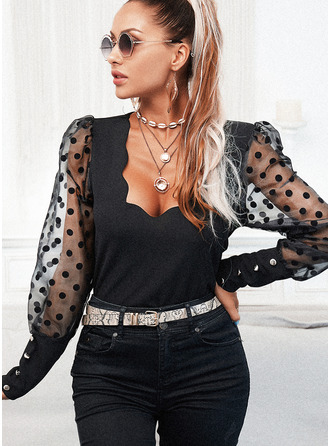 PolkaDot Solid V-Neck Long Sleeves Button Up Elegant Blouses