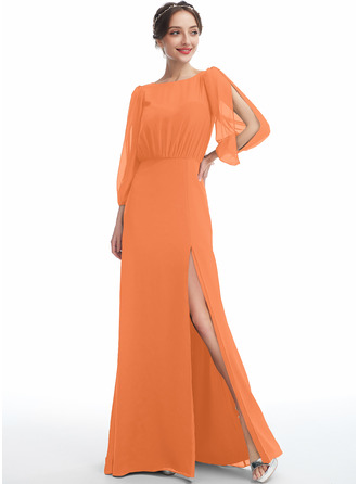 A-Line Scoop Neck Floor-Length Bridesmaid Dress With Split Front