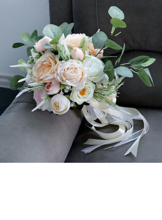 Pretty Round Silk Flower Bridal Bouquets - Bridal Bouquets