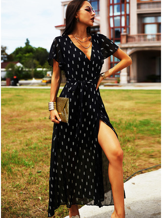 Print A-line Short Sleeves Maxi Casual Vacation Skater Dresses