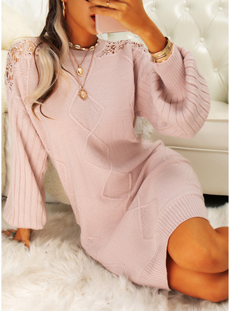 Round Neck Casual Long Lace Solid Sweaters
