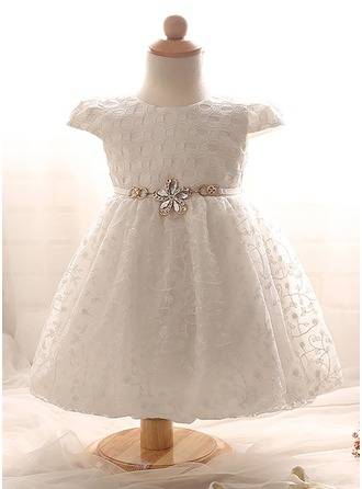 A-Line/Princess Knee-length Flower Girl Dress - Tulle/Polyester/Cotton Short Sleeves Scoop Neck With Rhinestone