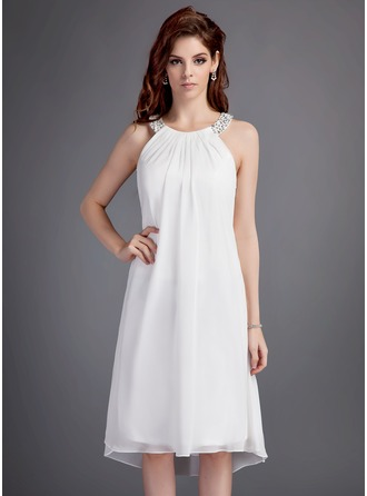 A-Line/Princess Scoop Neck Asymmetrical Chiffon Homecoming Dress With Ruffle Beading Sequins