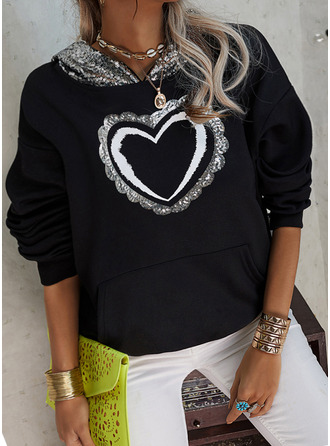 Sequins Heart Long Sleeves Hoodie