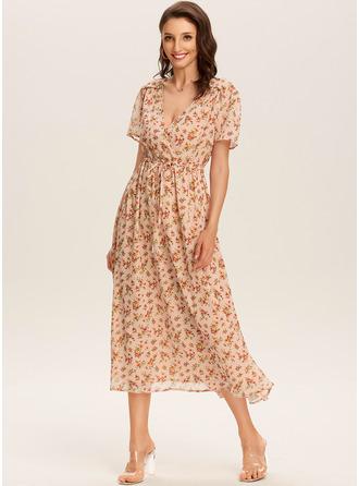 Robe trapèze Col V Polyester Robes tendance