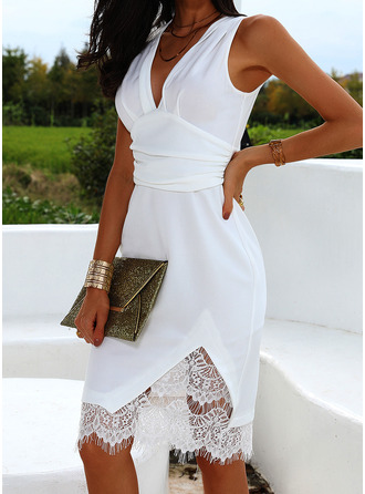 Lace Solid Bodycon Sleeveless Midi Party Dresses