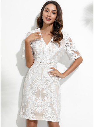 Lace Solid A-line 1/2 Sleeves Mini Elegant Skater Dresses