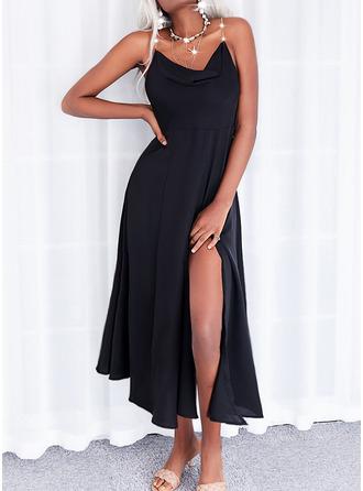 Solid A-line kjole Ermeløs Midi Lille svarte Avslappet skater Typen Motekjoler