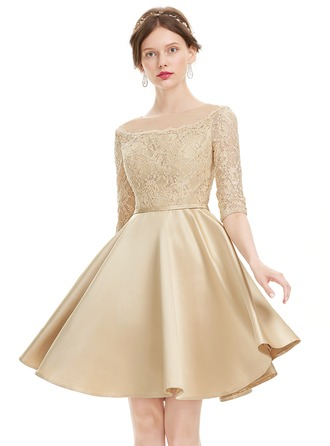 A-Line Scoop Neck Knee-Length Satin Homecoming Dress With Beading Sequins