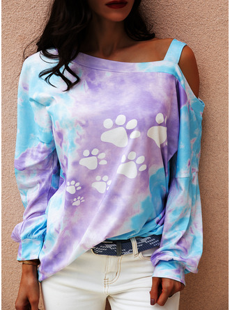 Tie Dye Animal Print One Shoulder Long Sleeves Casual Blouses