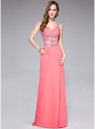 Trumpet/Mermaid Sweetheart Sweep Train Chiffon Prom Dress With Ruffle Beading Sequins Split Front