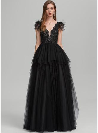 Платье для Балла/Принцесса V-образный Длина до пола Тюль Платье Для Выпускного Вечера с перо блестки