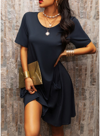 Solid Shift Short Sleeves Midi Casual Tunic Dresses