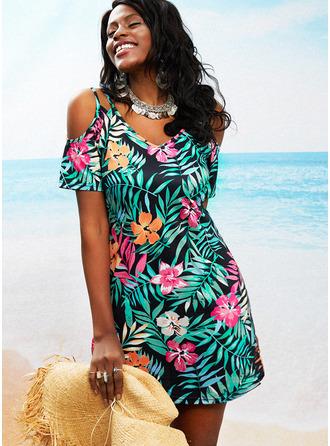 Floral Estampado Bainha Manga Curta Mini Casual Vestidos na Moda