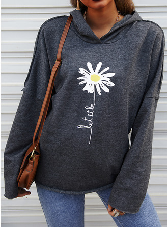 Floral Print Figure Long Sleeves Hoodie (1001253789)