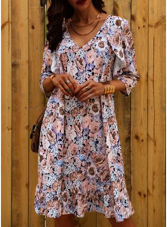 Floral Print Shift Long Sleeves Mini Casual Vacation Dresses