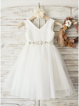 A-Line Knee-length Flower Girl Dress - Satin/Tulle Sleeveless V-neck With Bow(s)