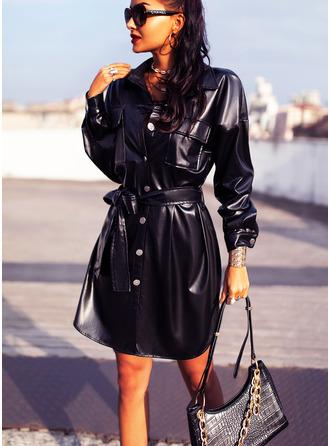 Solid Sheath Lange ermer Mini Lille svarte Avslappet Skjorte Motekjoler