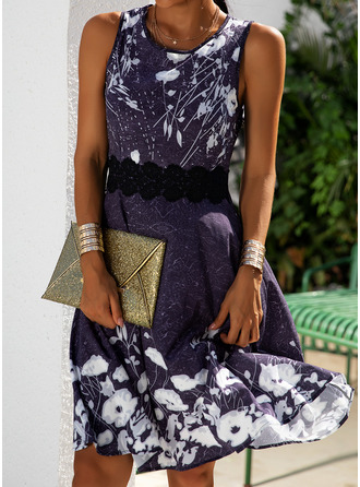 Floral Lace Print A-line Sleeveless Midi Casual Elegant Skater Dresses