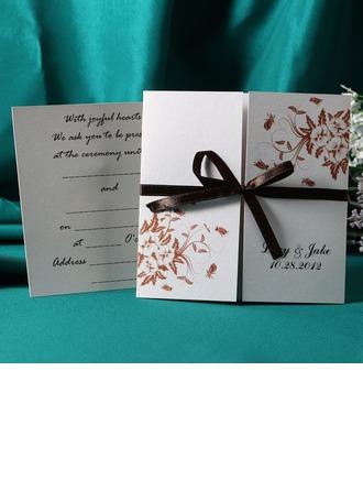 Personalizado Florales Estilo Puerta-Doble Invitation Cards con Cintas