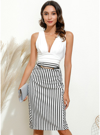 Striped Bodycon Sleeveless Midi Party Pencil Dresses
