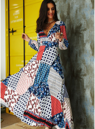 Patchwork Print Backless A-line Long Sleeves Maxi Sexy Vacation Skater Dresses