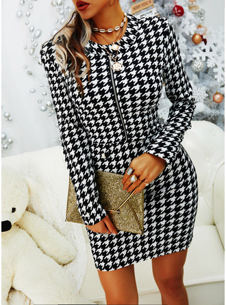Print Bodycon Long Sleeves Mini Elegant Dresses
