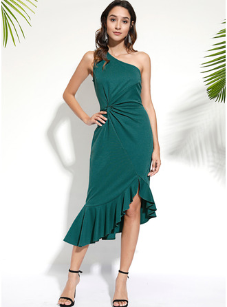 Solid Sheath Sleeveless Midi Party Elegant Dresses