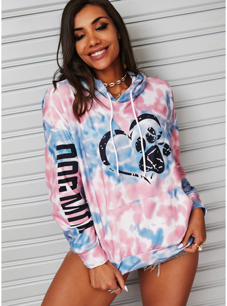 Animal Print Tie Dye Figure Heart Long Sleeves Hoodie