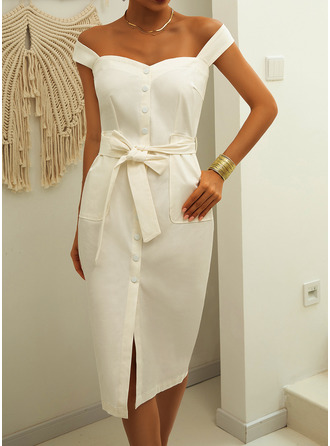 Midi Square Neck Polyester Solid/Slit Sleeveless Fashion Dresses