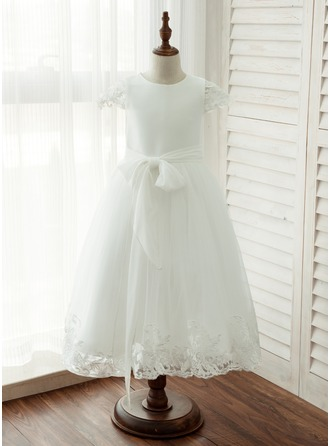 A-Line/Princess Tea-length Flower Girl Dress - Chiffon/Tulle/Lace Short Sleeves Scoop Neck With Sash/Appliques