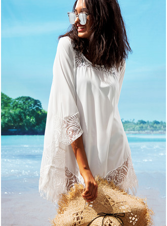 Cover-ups Polyester Lace Solid Color Women's No Swimwear