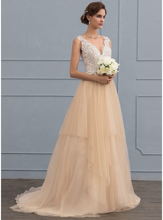 Ball-Gown V-neck Sweep Train Tulle Wedding Dress With Beading Sequins