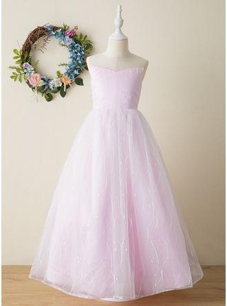 A-Line Floor-length Flower Girl Dress - Tulle Sleeveless High Neck With Beading/Bow(s)