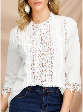 Lace V-Neck 3/4 Sleeves Button Up Casual