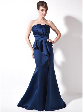 Trumpet/Mermaid Scalloped Neck Court Train Satin Evening Dress With Ruffle Split Front