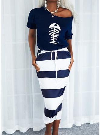 Animal Print Print Striped Sheath Short Sleeves Midi Casual Dresses