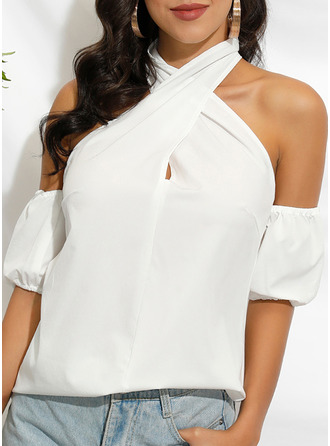 Solid Cold Shoulder 1/2 Sleeves Sexy