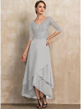 A-Linie V-Ausschnitt Asymmetrisch Chiffon Spitze Kleid für die Brautmutter mit Perlstickerei Pailletten