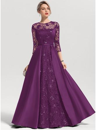 A-Line/Princess Scoop Neck Floor-Length Satin Evening Dress With Sequins