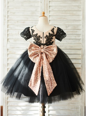 A-Line Knee-length Flower Girl Dress - Tulle/Lace Short Sleeves Scoop Neck With Bow(s)