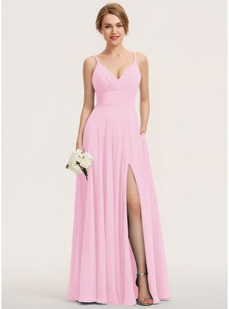 A-Line V-neck Floor-Length Chiffon Bridesmaid Dress With Ruffle Pockets