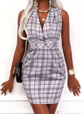 Plaid Bodycon Sleeveless Mini Elegant Dresses