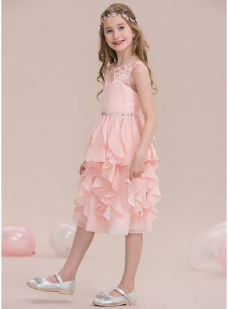 A-Line/Princess Scoop Neck Knee-Length Chiffon Junior Bridesmaid Dress With Beading Sequins Cascading Ruffles