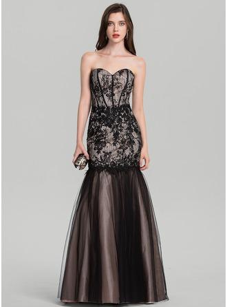 Trumpet/Mermaid Sweetheart Floor-Length Tulle Evening Dress