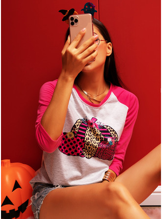 Leopard Print Round Neck Long Sleeves T-shirt
