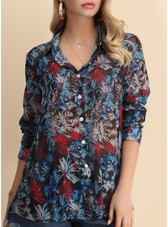 Print Lapel Long Sleeves Button Up Casual