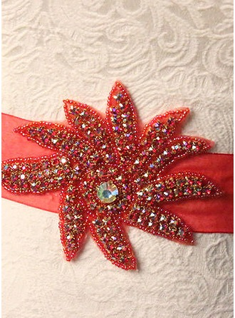 Beautiful Ribbon Sash With Flower/Rhinestones