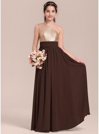 Vestidos princesa/ Formato A Um ombro Longos Tecido de seda Vestido de daminha júnior com Pregueado
